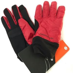 HAWKE & CO Red Black Nylon Gloves Size S/M